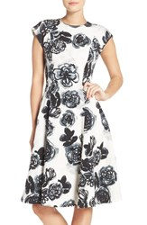 Sachin Babi Women's And Noir 'Desiree' Floral Jacquard Fit And Flare Dress Onyx