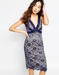 Hybrid Colette Lace Plunge Neck Dress With Satin Trim Navy