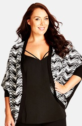 City Chic 'Abstract Long Line' Print Batwing Cardigan Plus Size Ivory