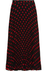 Mcq By Alexander Mcqueen Polka Dot Pleated Crepe Skirt Black