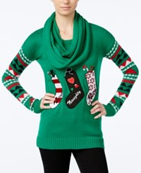 Planet Gold Juniors' Stockings Holiday Sweater With Scarf Green