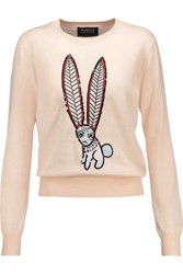 Markus Lupfer Grace Embellished Intarsia Cotton Sweater Peach
