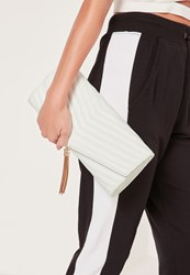 Missguided Chevron Quilted Tassel Clutch Bag White