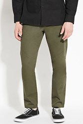 Forever 21 Cotton Slim Fit Pants Olive
