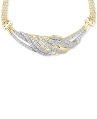 Macy's Diamond Twist Frontal Necklace 1 Ct. T.W. In 14K Gold Over Sterling Silver Yellow Gold