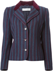 Givenchy Vintage Striped Skirt Suit Blue