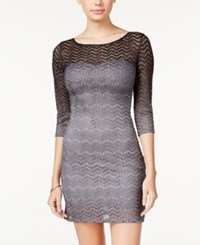 Jump Juniors' Ombre Metallic Lace Bodycon Dress Black Silver