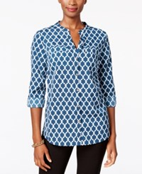 Charter Club Iconic Print Utility Shirt Only At Macy's Cerulean Night Combo