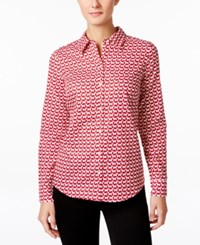 Charter Club Petite Dog Print Shirt Only At Macy's New Red Amore Combo