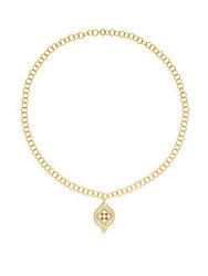 Freida Rothman 14K Gold Vermeil And Sterling Silver Round Clover Pendant Link Necklace