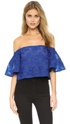 Nicholas Floral Lace Tiered Sleeve Top Monaco Blue