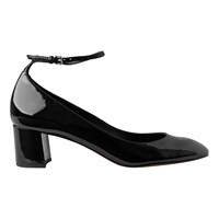 Whistles Ness Block Heeled Mary Jane Shoes Black Patent Leather