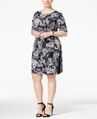 Connected Plus Size Printed Sheath Dress Charcoal