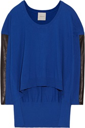 Mason By Michelle Mason Leather Trimmed Cotton And Cashmere Blend Sweater