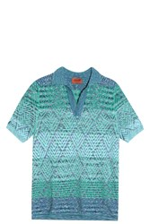 Missoni Diamond Knit Polo Green