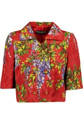 Dolce And Gabbana Printed Cotton Blend Jacquard Jacket Red