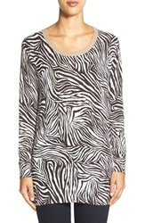Women's Michael Michael Kors Metallic Trim Zebra Print Sweater
