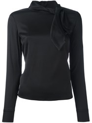 L'autre Chose Tie Neck Detail Blouse Black