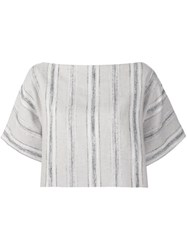 Sophie Theallet Striped Basketweave Crop Top Nude And Neutrals