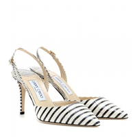 Jimmy Choo Tilly Snakeskin Slingback Pumps Off White Black
