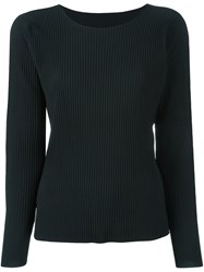 Issey Miyake Cauliflower Pleated Boat Neck Blouse Black