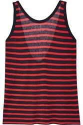 Alexander Wang T By Striped Stretch Jersey Tank Red