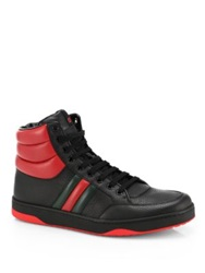 Gucci Contrast Padded Leather High Top Sneakers Black Red White Red