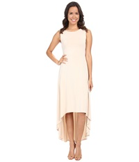 Bcbgmaxazria Fara High Low Dress W Twist Open Back Vintage Almond Blossom Women's Dress Beige