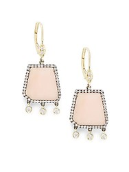 Meira T Pink Opal .53 Tcw Diamonds And 14K Gold Plated Sterling Silver Earrings