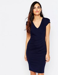 Jessica Wright Aliz Pencil Dress With Ruched Front Navy