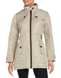 Weatherproof City Walker Diamond Quilted With Faux Fur Collar Coat Earth