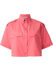 Moschino Cropped Button Down Shirt Pink And Purple