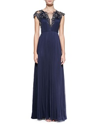 Catherine Deane Cap Sleeve Beaded Front And Back Bodice Gown