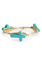 Bourbon And Boweties Howlite Cross Bangle Blue