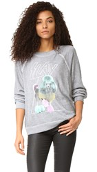 Wildfox Couture Slay Sweatshirt Heather Burnout