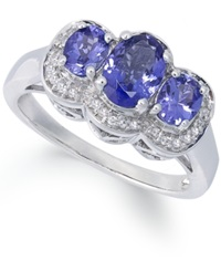 Macy's Sterling Silver Ring Tanzanite 1 1 4 Ct. T.W. And Diamond Accent 3 Stone Ring