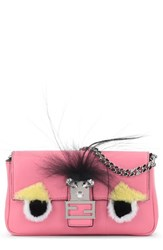 Fendi 'Micro Monster' Genuine Rabbit Fur And Genuine Fox Fur Baguette