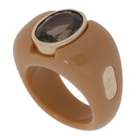 Andre Benitah Creations Paris Squared Off Resin Gold And Lg Gemstone Ring Coffee W Smokey Quartz