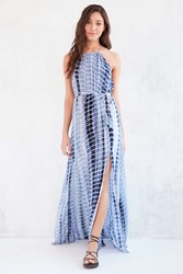 Ecote Tie Dye High Neck Halter Maxi Dress Blue Multi