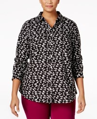 Charter Club Plus Size Bow Print Shirt Only At Macy's Deep Black Combo