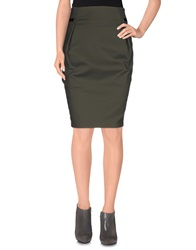 Annarita N. Knee Length Skirts Military Green