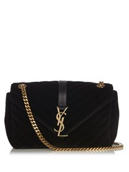 Saint Laurent Monogram Quilted Velvet Cross Body Bag Black