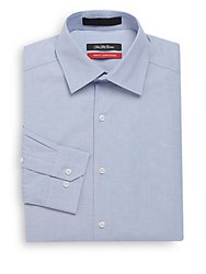 Saks Fifth Avenue Trim Fit Stretch Cotton Dress Shirt Light Blue