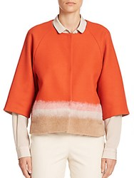Piazza Sempione Colorblock Short Wool Jacket Orange Camel