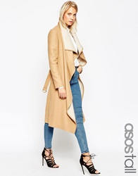 Asos Tall Coat With Waterfall Front And Belt Camel