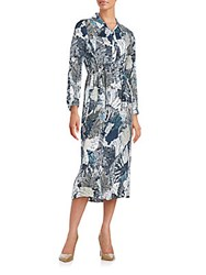 French Connection Lala Palm Leaf Print Shirtdress Summer White