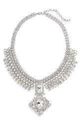 Cristabelle Women's Statement Collar Necklace Clear Silver