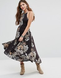Free People Seasons Sun Floral Dress Black Combo