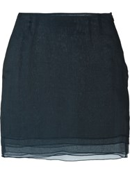 Romeo Gigli Vintage Layered Mini Skirt Blue