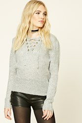 Forever 21 Marled Knit Lace Up Sweater